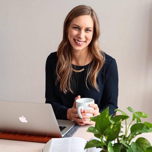 Rachel smiling with mug