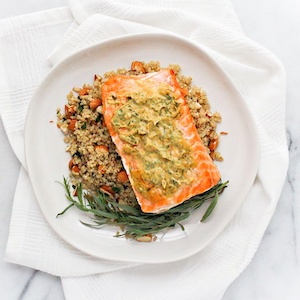 Mustard salmon with greens and quinoa